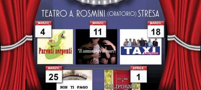 Ritorna E…DIZIONE straordinaria. Seconda rassegna teatrale al Teatro A. Rosmini di Stresa per cinque sabati: 4-11-18-25 marzo e 1 aprile.