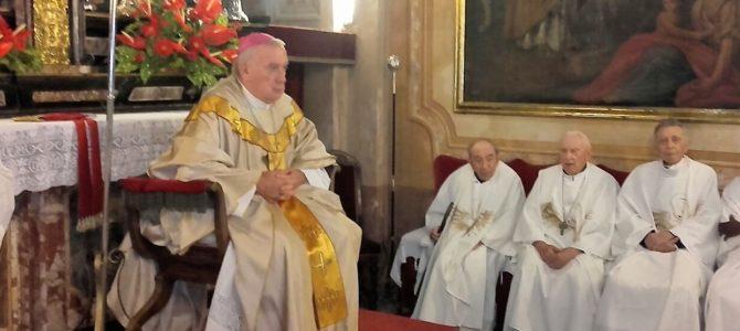 La comunità di Campino in festa per i giubilei sacerdotali di mons. Giavanni Battista Moretti, don Aldo Gaddia e don Piero Udini.